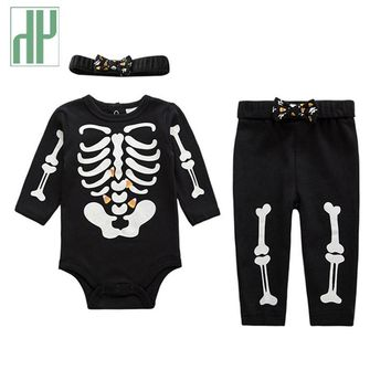 Baby clothes 3pcs halloween costume for baby christmas clothes boys rompers skull bone luminous newborn baby girl clothes HH