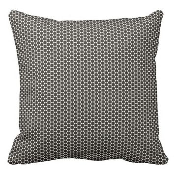 Black and White Small Print Hexagon design Throw Pillow