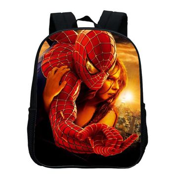 Hot Sale Oxford 12 Inches Printing Cool Hero Spiderman Kids Baby Boys School Bags Cartoon Small Backpack for Children Schoolbag