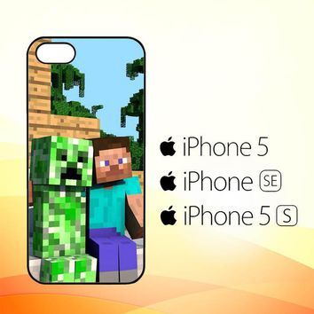 Minecraft Creeper and Steve Sleeve L1265  iPhone 5|5S|SE Case