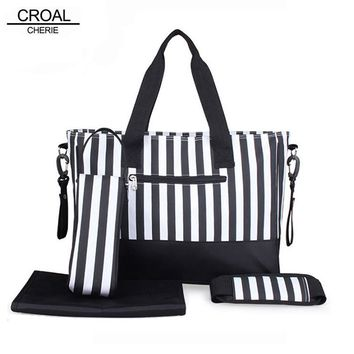 CROAL CHERIE 4pcs Baby Diaper Bag Brand Striped Women Maternity Tote Bag Baby Stroller Bag For Mom Mother Organizer Nappy Bag