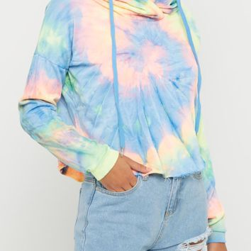 Multi Bright Tie Dye Crop Hoodie | Hoodies | rue21