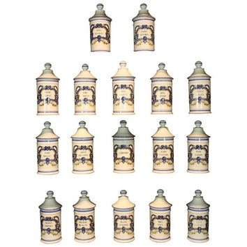Rare Set of 17 French Porcelain Apothecary Jars