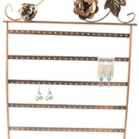 "17""h Copper Color Roses on Wine Vintage Jewelry Earring Holder / Organizer / Stand / Display"