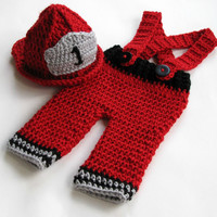 Red Fireman Hat, Firefighter Pants and Helmet, Suspender Pants, 0 to 3 Months, 3 to 6 Months, Photo Prop