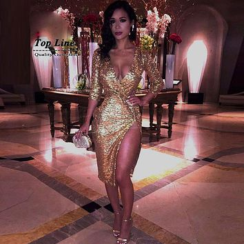 2016 gold sequin dress sexy  v-neck long sleeve sparkly fashion evening nightclub side split dresses drop shipping