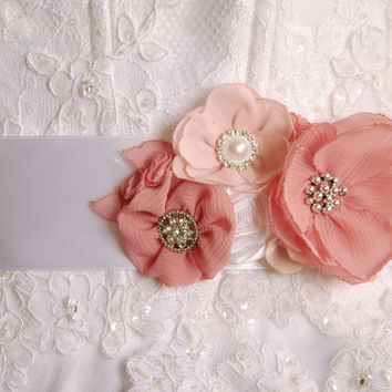 Hibiscus Bridal corsage, sash, belt, wedding flower sash, wedding sash, bridal gown sash, flower belt, flower sash belt, dress sash