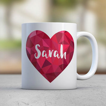 Gift for Her - Red Pink - Personalized Mugs - Heart - Diamond - Cute Mugs - Urban Style