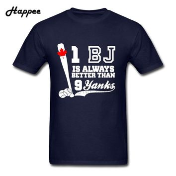 XS-XXXL 1 BJ Is Better Than 9 Yanks T Shirts Men Youth 100% Cotton Funny Canada Baseball T Shirt Man Clothes Teens Fun Tees Top