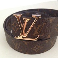 LAstylez — Designer M/L Louis Vuitton Gold Buckle Brown Tan LV Monogram Unisex Belt