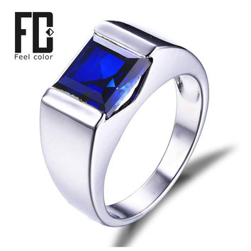 mens created blue sapphire ring genuine 925 sterling silver men wedding band  gift for fathers day anniversary birthday