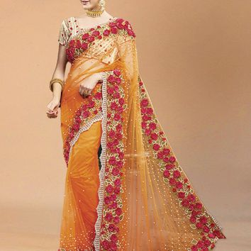 superb orange color net designer heavy work bridal wear saree