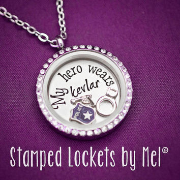 My Hero Wears Kevlar - Hand Stamped Stainless Steel Locket - Police Wife Necklace - Floating Memory Jewelry - PD Wife - Officer Cop Fiancee