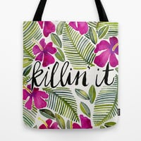 Killin' It – Tropical Pink Tote Bag by Cat Coquillette