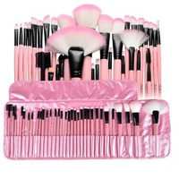 Zodaca 32 pcs Makeup Brushes Superior Kit Set Powder Foundation Eye shadow Eyeliner Lip with Pink Cosmetic Pouch Bag - Walmart.com