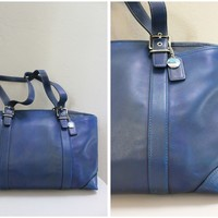 Large Pre Owned Coach Used Blue Leather Tote Handbag Shoulder Bag with Compartments
