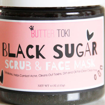 Black Sugar Scrub & Face Mask, Exfoliates and Cleans Our Pores, Helps Clear Acne!