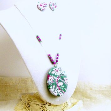 Clay Pendant and Earring Jewelry Set, Affordable Artisan Handmade Polymer Clay Jewelry