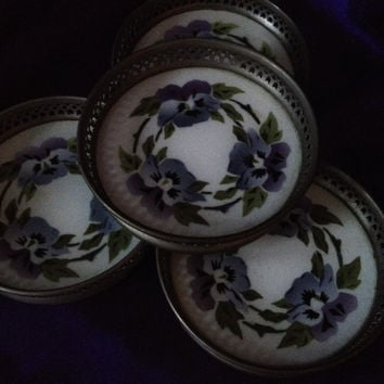 Antique Porcelain Coasters, Hand Painted Pansies, Germany, Reticulated Silver Plated Design,  Sternauware N Y, Early 1900s