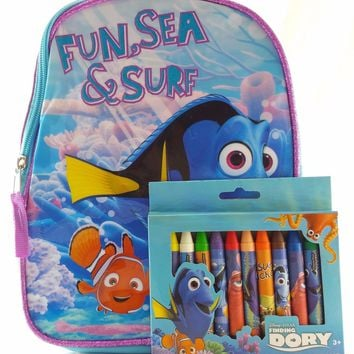 "Disney Pixar Finding Dory 10"" Canvas Blue & Pink Backpack w/12 Jumbo Crayons"