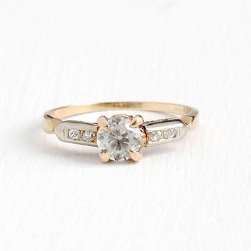 Vintage 14k Rosy Yellow & White Gold Genuine White Zircon and Diamond Ring - 1940s Size 6 3/4 Round Gemstone Fine Two Tone Romany Jewelry