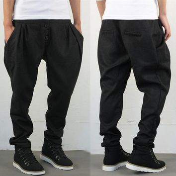 Casual Hip Hop Dance Big crotch harem Pants Black male baggies Button Trousers Plus size mens skinny sweatpants Size 28-40