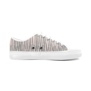 Gray Stripes Theme White Base Women's Nonslip Canvas Shoes