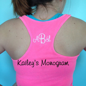 Monogrammed Tank Racer Tee Work Out Exercise Dance Team Cheer Team Gymnastics Personalized Mongram Kaileys Monogram Embroidered