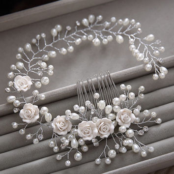 Gorgeous hair comb floral headbands bridal clip bridal headband pearl bridal tiara bridal jewerly bridal hair comb pearl bridal accessory