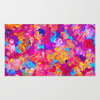 FLORAL FANTASY Bold Abstract Flowers Acrylic Textural Painting Neon Pink Turquoise Feminine Art Area & Throw Rug by EbiEmporium