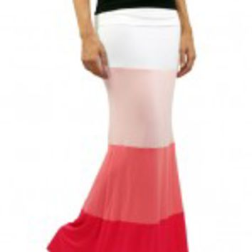 Pink Color Block Skirt