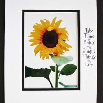 Simple Sunflower, Inspirational Quote, Matted 8x10 Print, Brighten your world, Colorful Wall Art, Unique Gift, Affordable Decor