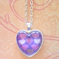 Pink and gold hearts -  silver glass dome heart necklace for tween or teen girl