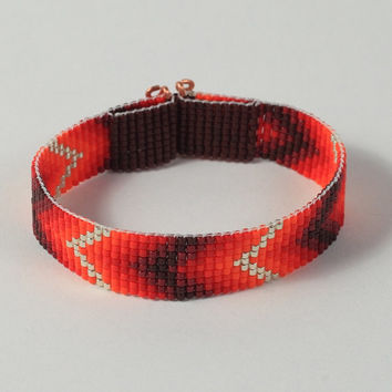 Southwestern Red Chevron Bead Loom Bracelet - Native American Style - Red Black - Beadwoven - Boho Chic - Hippie Jewelry - Bright - Western
