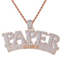 Men's Hip Hop Rose Gold Paper Chasin Money Rapper Pendant