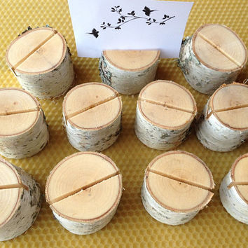 50 Wedding Place Card Holders, Rustic Weddings Table Decor, Natural Birch Wood Place Card Holders, Rustic Birch Wood Place Card Holders