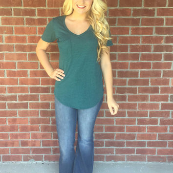 Simply Sweet V Neck Pocket Tee