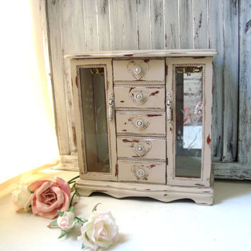 Tan Painted Wooden Jewelry Holder, Vintage Jewelry Box with Hearts and Floral Glass Doors, Shabby Chic Distressed Jewelry Box, Gift Ideas