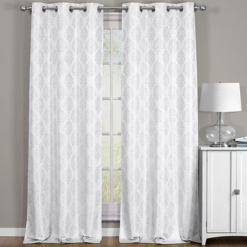 Off-White Paisley Thermal Blackout Grommet Curtain Panels (Set of 2 Panels )