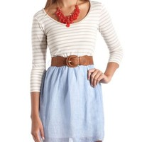 Belted Stripe 2-Fer Dress: Charlotte Russe