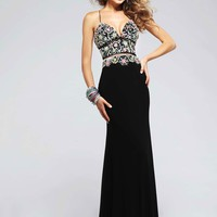 Faviana S7718 Colorfully Beaded V-Neck Jersey Gown