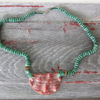 Vintage green jade stone beads necklace with large shell pendant. beach jewelry