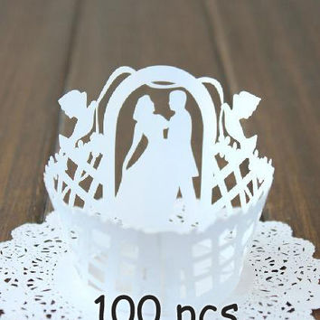 White wedding marry me fairy tale I do laser cut cupcake wrapper handmade cupcake holder happy cake wrapper lace wraps collars mrs mr right
