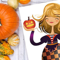 Halloween Print Illustration Geometric Girl Children Kids Pumpkin Orange Black