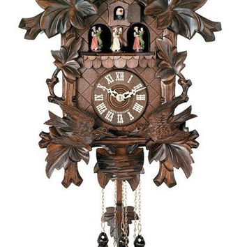 Moving Birds Feed Nest with Dancers Eight Day Musical Cuckoo Clock