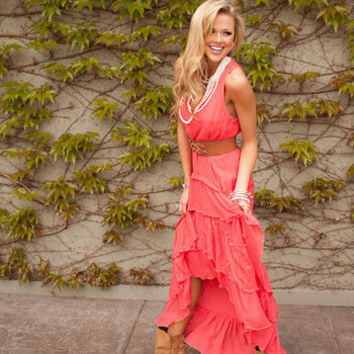 Country Club Ruffle Lace Dress Coral