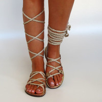 NEW Women's Gold Leather Sandals Unique by GreekChicHandmades