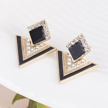 Hot Sale Brincos Colorful Enamel Rhinestone Party Earring Geometric Drop Triangle Earrings for Women Fashion Accessories Jewelry