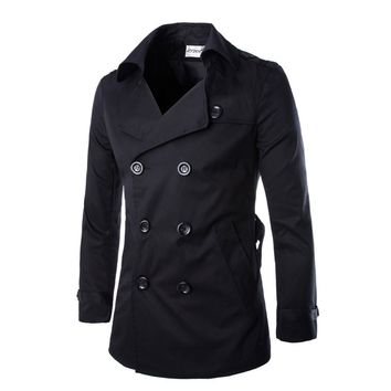 West Street Haku [3 COLORS] Men's Cotton Blend Solid Button Trench Coat