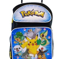 Pokemon Large Rolling BackPack - Pikachu and Friends Large Rolling School Bag